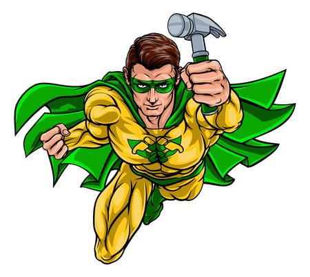 Super Carpenter Handyman Superhero Holding Hammer