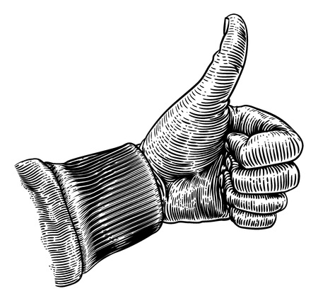 Thumbs up Woodcut Hand Иллюстрация