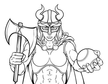 Viking Female Gladiator Baseball Warrior Woman Illustration