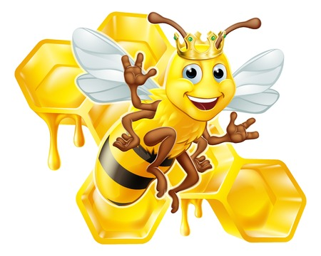 Queen Bumble Bee in Crown Honeycomb Cartoon Stock Illustratie