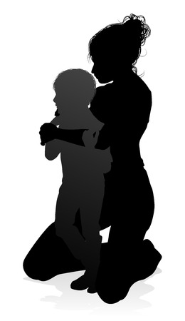 Mother and Child Family Silhouette Illusztráció