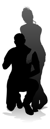 Young Couple People Silhouette Иллюстрация