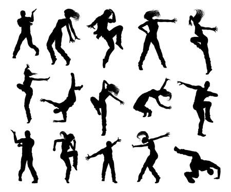 Street Dance Dancer Silhouettes Ilustração