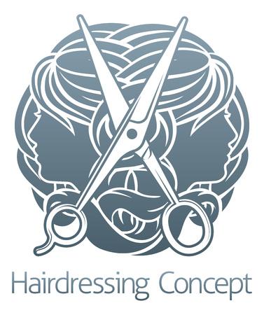 Faces and Scissors Hair Salon Hairdresser Concept