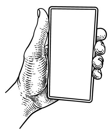 Hand Holding Mobile Phone Vintage Style Ilustração