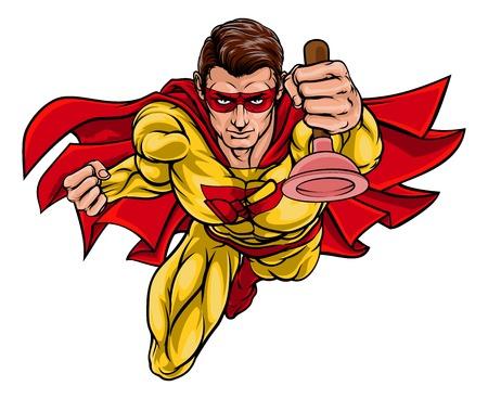 Super Klempner Handwerker Superhelden Holding Plunger
