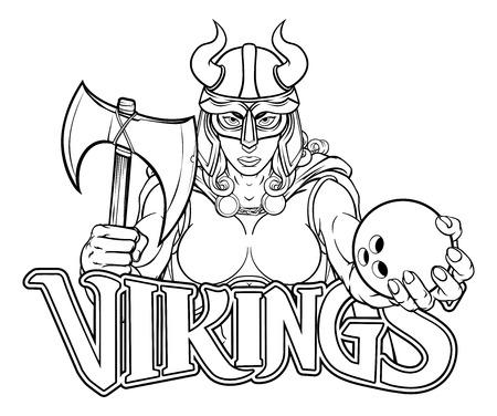 Viking Female Gladiator Bowling Warrior Woman Ilustração