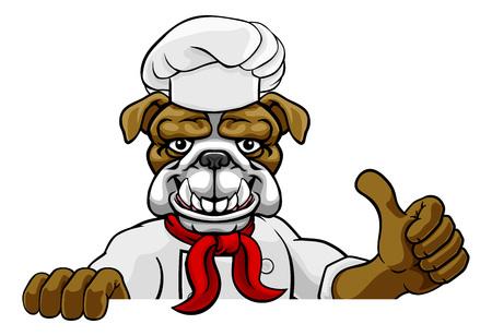 Bulldog Chef Mascot Sign Cartoon Фото со стока - 131464153