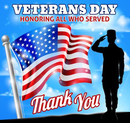 Soldado saludando a la bandera americana del día de los veteranos Ilustración de vector