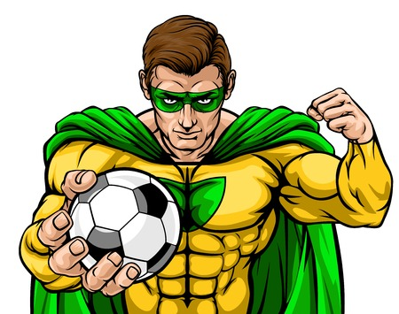 Superhero Holding Soccer Ball Sports Mascot