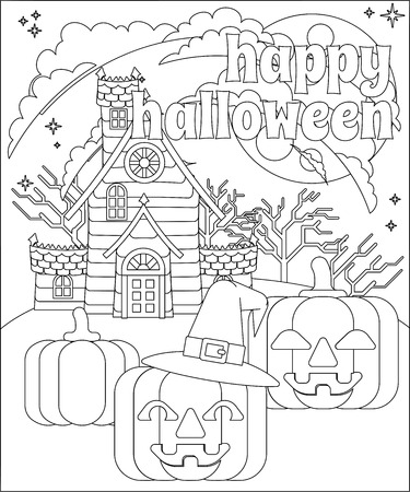 Happy Halloween Haunted House Pumpkin Background Ilustração