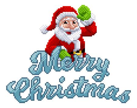 Marry Christmas Santa Claus 8 Bit Game Pixel Art Ilustração