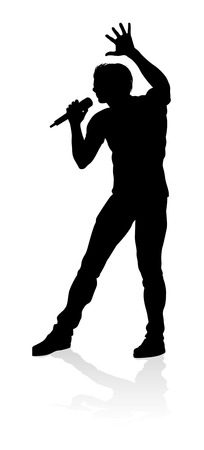 Singer Pop Country or Rock Star Silhouette Stock Illustratie