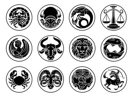 Conjunto de iconos de signos de estrellas de astrología horóscopo del zodíaco Ilustración de vector