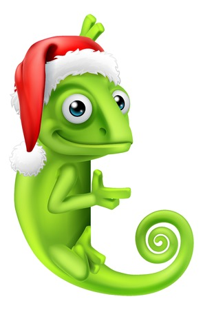 A chameleon lizard animal cartoon character in Santa hat ready for Christmas peeking around a sign and pointing at it  イラスト・ベクター素材