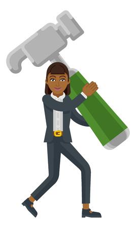 Asian Business Woman Holding Hammer Mascot Concept Ilustração