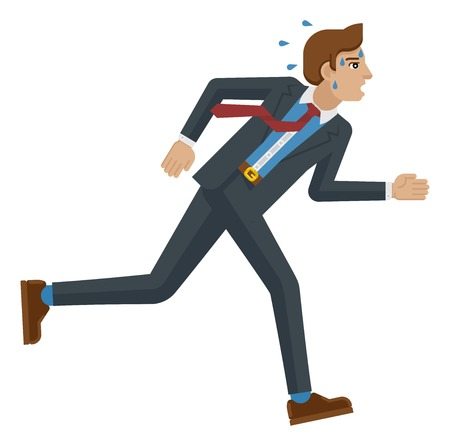 Business Man Stress Pressure Tired Running Concept Ilustração
