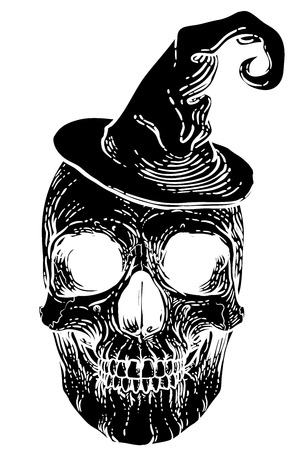 Halloween Skull in Witch Hat
