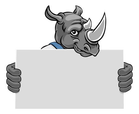 Rhino Cartoon Mascot Handyman Holding Sign