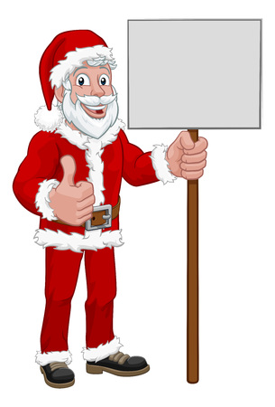 Young Santa Claus Holding Sign Christmas Cartoon  イラスト・ベクター素材