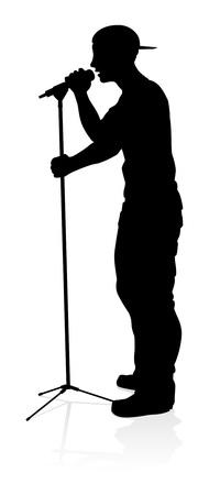 Singer Pop Country or Rock Star Silhouette Stock fotó - 131619632