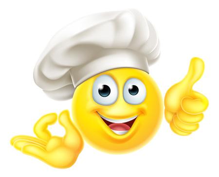 Emoji Chef Cuoco Cartoon OK Pollice in su