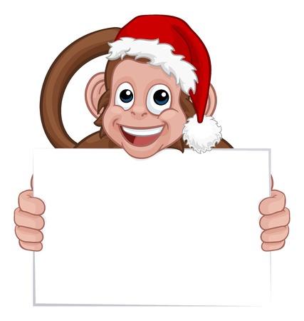 Christmas Monkey Cartoon Character in Santa Hat