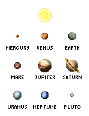 Solar System Planets 8 Bit Video Game Pixel Art