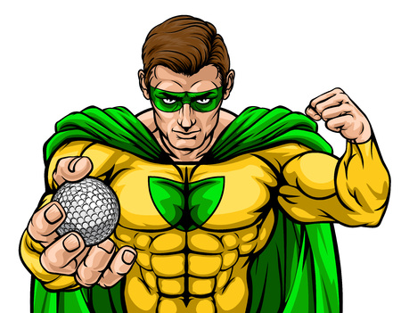 Superhero Holding Golf Ball Sports Mascot