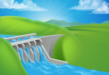 Hydro Water Power Dam Generating Electricity