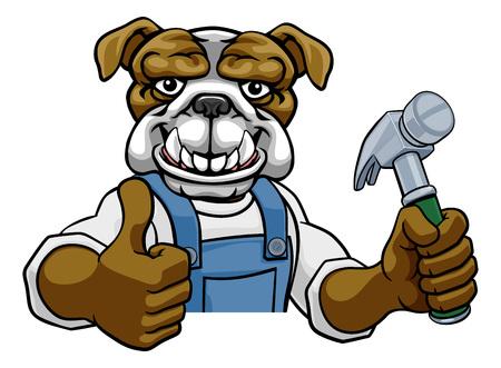 Bulldog Carpenter Handyman Builder Holding Hammer