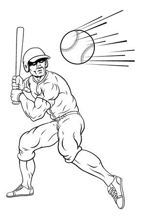 A baseball player cartoon mascot swinging a bat at a fast ball