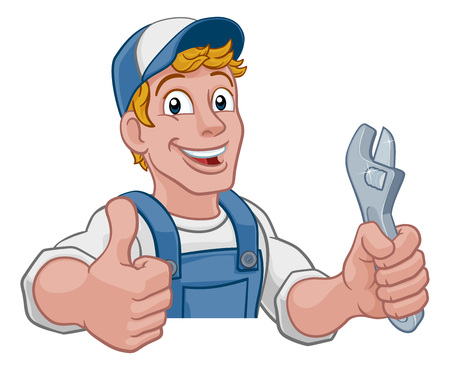 Mechanic plumber maintenance handyman cartoon mascot man holding a wrench or spanner. Peeking over a sign and giving a thumbs up Çizim