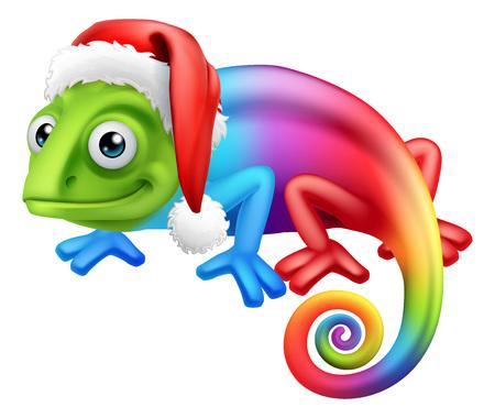 A rainbow chameleon lizard animal cartoon character in Santa hat ready for Christmas  Çizim