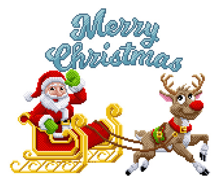 Santa Claus and his reindeer sleigh scene with merry Christmas message in 8 bit pixel art video game style Çizim