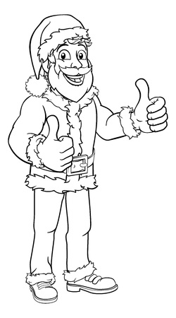 Young handsome Santa Claus Christmas cartoon character standing giving a double thumbs up Çizim