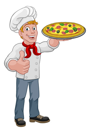 A chef holding a plate of pizza and giving a thumbs up cartoon Vectores