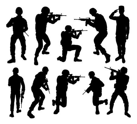 Silhouettes détaillées des soldats de l'armée des forces armées militaires dans diverses poses Vecteurs