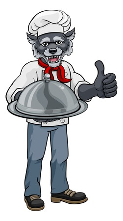 A wolf chef mascot cartoon character holding a silver platter cloche dome of food and giving a thumbs up Çizim