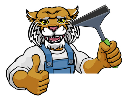 Wildcat Car Or Window Cleaner Holding Squeegee