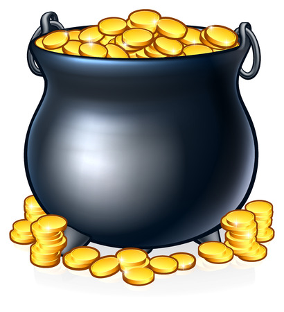 Pot of Gold Coins at End of the Rainbow