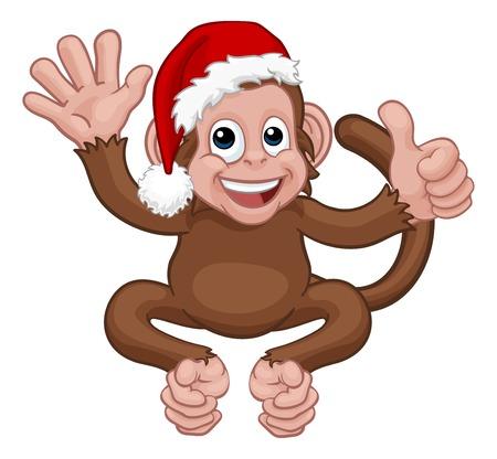 A Christmas monkey animal cartoon character in a Santa hat giving thumbs up and waving