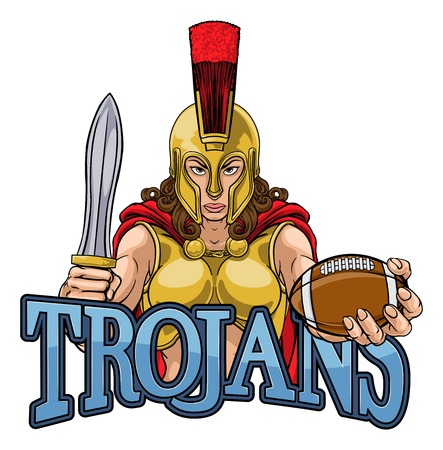 A Spartan or Trojan female gladiator warrior woman American football sports mascot Banque d'images - 132627566