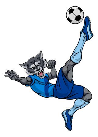 A wolf soccer football player cartoon animal sports mascot kicking the ball Illustration