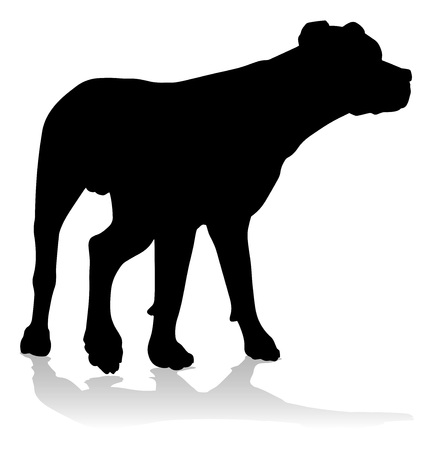 A detailed animal silhouette of a pet dog