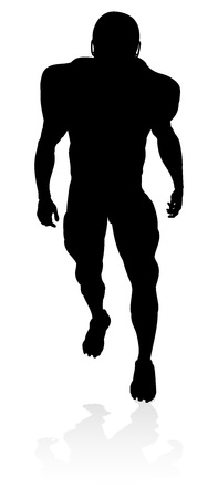Detailed American Football player sports silhouette Çizim