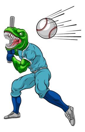 A dinosaur T Rex or Raptor baseball player cartoon animal mascot swinging a bat at a fast ball Çizim