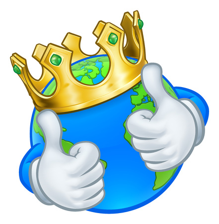 An earth globe world cartoon character mascot wearing a gold king crown and giving a thumbs up