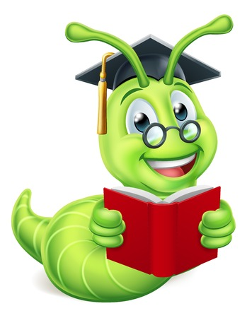 A cute caterpillar bookworm worm cute cartoon character education mascot wearing graduation hat and glasses reading a book   イラスト・ベクター素材