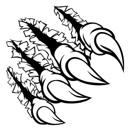 Eine Monsterklauenhand, die den Hintergrund zerreißt oder zerreißt